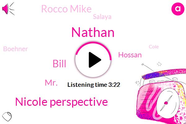 Nathan,Nicole Perspective,Bill,MR.,Hossan,Rocco Mike,Salaya,Boehner,Cole,Zealand,Heeb,Cuba,Ninety Percent,Two Weeks