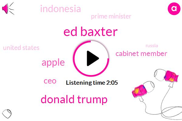 Ed Baxter,Donald Trump,Apple,CEO,Cabinet Member,Indonesia,Prime Minister,United States,Russia,Bloomberg,Facebook,San Francisco,President Trump,Vladimir Putin,Advisory Board,Nhtsa,Ntsb,Elon Musk