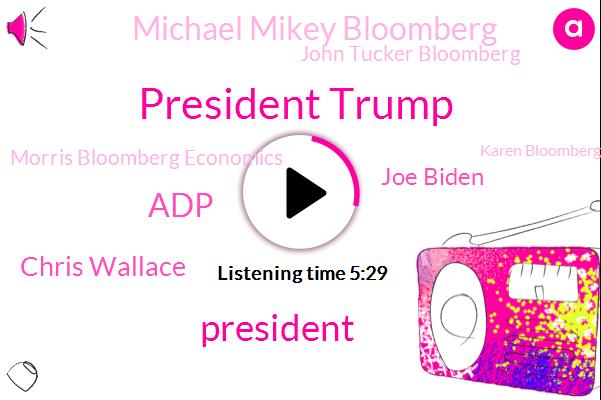President Trump,ADP,Chris Wallace,Joe Biden,Michael Mikey Bloomberg,John Tucker Bloomberg,Morris Bloomberg Economics,Karen Bloomberg,John,Bloomberg News,Nathan Karen,Germany,Vice President,Nextera Energy,Royal Dutch Shell,Europe