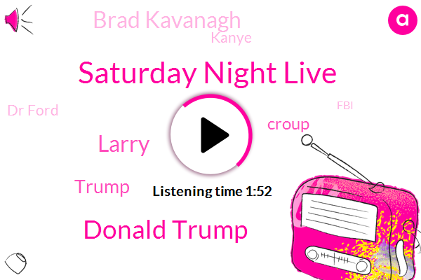 Saturday Night Live,Donald Trump,Larry,Croup,Brad Kavanagh,Kanye,Dr Ford,FBI,Ninety Percent,Three Minutes