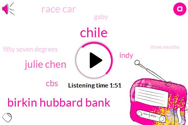 Chile,Birkin Hubbard Bank,Julie Chen,CBS,Indy,Race Car,Gaby,Fifty Seven Degrees,Three Months