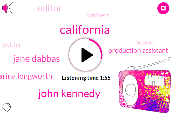California,John Kennedy,Jane Dabbas,Karina Longworth,Production Assistant,Editor,Twitter,Facebook,Panthers,Instagram