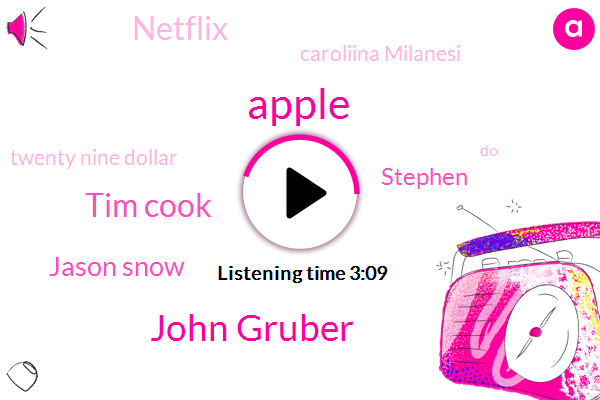 Apple,John Gruber,Tim Cook,Jason Snow,Stephen,Netflix,Caroliina Milanesi,Twenty Nine Dollar