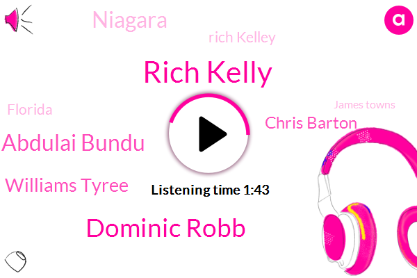 Rich Kelly,Dominic Robb,Robb Abdulai Bundu,Williams Tyree,Chris Barton,Niagara,Rich Kelley,Florida,James Towns,Khalif,Dr. Rob,Keleaf Tate,BOB