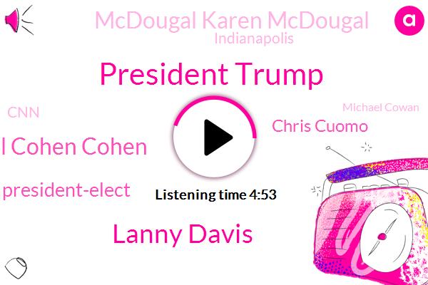 President Trump,Lanny Davis,Michael Cohen Cohen,Chris Cuomo,President-Elect,Mcdougal Karen Mcdougal,Indianapolis,CNN,Michael Cowan,National Enquirer,King,New York,Clinton,Tony,Lonzo,Laura