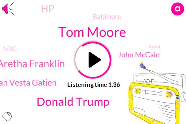 Tom Moore,Donald Trump,Aretha Franklin,Russian Vesta Gatien,John Mccain,HP,Baltimore,NBC,Komi,Muller