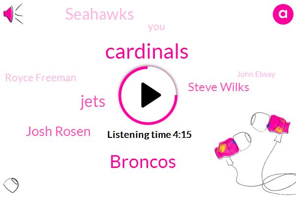 Broncos,Cardinals,Jets,Josh Rosen,Steve Wilks,Seahawks,Royce Freeman,NFL,John Elway,Von Miller,Kirk Cousins,Bradley Chubb,Rickie Hollywood,John John,Jason,Chandler Jones,Keenum,John L.,Patrick Peterson