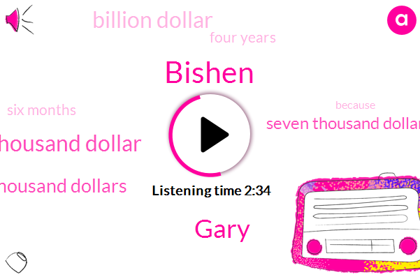 Bishen,Gary,Twenty Five Fifty Thousand Dollar,Hundred Thousand Dollars,Seven Thousand Dollars,Billion Dollar,Four Years,Six Months