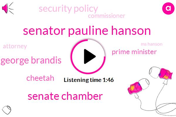 Senator Pauline Hanson,Senate Chamber,George Brandis,Cheetah,Prime Minister,Security Policy,Commissioner,Attorney,Ms Hanson,Senator Henson,Four Years