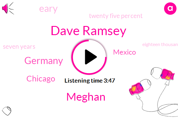 Dave Ramsey,Meghan,Germany,Chicago,Mexico,Eary,Twenty Five Percent,Seven Years,Eighteen Thousand Three Months,Ten Fifteen Thousand Dollars,Fifteen Percent,Thirteen Years,Fifty Dollars,Three Months,Two Years