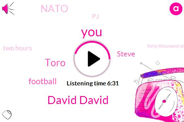 David David,Toro,Football,Steve,Nato,PJ,Two Hours,Forty Thousand Volts,Ninety Percent,Ten Seconds,Ten Years
