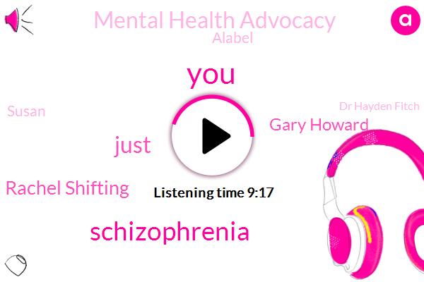 Schizophrenia,Rachel Shifting,Gary Howard,Mental Health Advocacy,Alabel,Susan,Dr Hayden Fitch,Co Co,Researcher