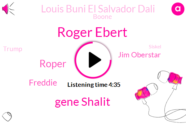 Roger Ebert,Gene Shalit,Roper,Freddie,Jim Oberstar,Louis Buni El Salvador Dali,Boone,Donald Trump,Siskel,Tori,Todd,Bigalow,Roger,Sheehan,Ninety Three Minutes,Six Minutes