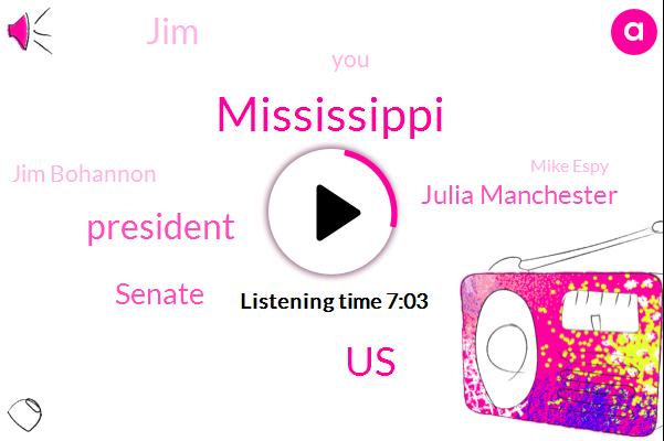 Mississippi,United States,President Trump,Julia Manchester,Senate,Jim Bohannon,JIM,Mike Espy,Bill Clinton,Marty,Cindy Hyde Smith,Hillary Clinton,Congressman,Chuck Schumer,Jimbo,John Jahr,Secretary