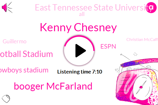 Kenny Chesney,Booger Mcfarland,Dallas Cowboys Football Stadium,Cowboys Stadium,Espn,East Tennessee State University,Guillermo,Christian Mccaffrey,Foxborough,Patriots Stadium,Johnson City,Arkady,Italy,Nashville,Dallas,East Tennessee,Seahawks,Kenny,T,Football