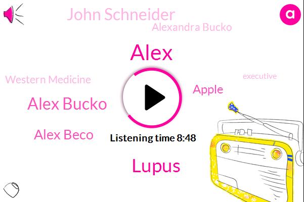 Alex,Lupus,Alex Bucko,Alex Beco,Apple,John Schneider,Alexandra Bucko,Western Medicine,Executive,CEO,Methotrexate,United States,Alexander,Kevin,TOM