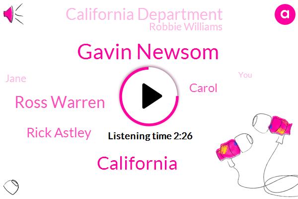 Gavin Newsom,California,Ross Warren,Rick Astley,Carol,California Department,Robbie Williams,Jane