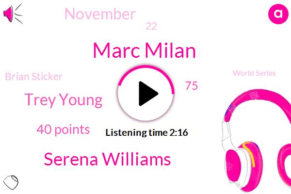 Marc Milan,Serena Williams,Trey Young,40 Points,75,November,22,Brian Sticker,World Series,Tuesday,U. K,Celtics,Jeff Mullis,Kirkland Carden,Hawks,Senator,Preston,ONE,First,1