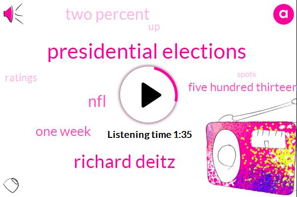 Presidential Elections,Richard Deitz,NFL,One Week,Five Hundred Thirteen Million Dollars,Two Percent