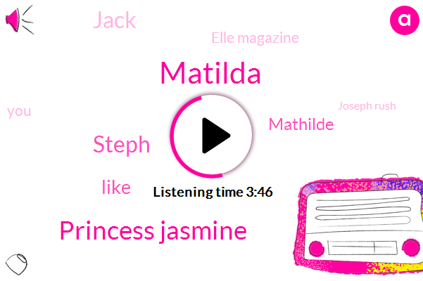 Matilda,Princess Jasmine,Steph,Mathilde,Jack,Elle Magazine,Joseph Rush,Beth,Aladdin Joh,California