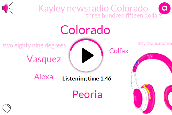Colorado,Peoria,Vasquez,Alexa,Colfax,Kayley Newsradio Colorado,Three Hundred Fifteen Dollars,Two Eighty Nine Degrees,Fifty Thousand Watt,Forty Five Years,Three Weeks,Six Foot