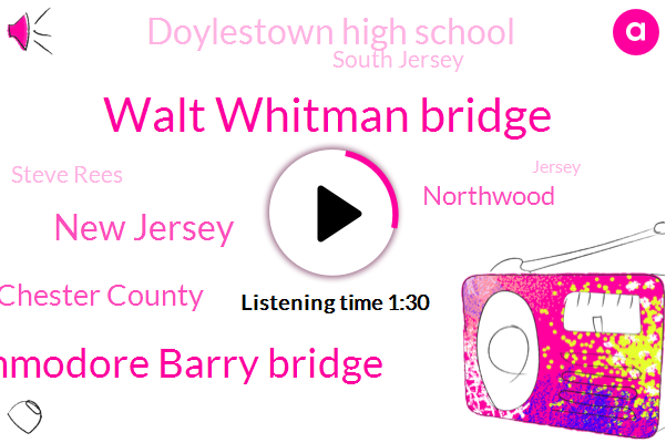 Walt Whitman Bridge,Commodore Barry Bridge,New Jersey,Chester County,Northwood,Doylestown High School,South Jersey,Steve Rees