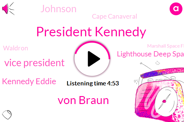 President Kennedy,Von Braun,Vice President,Kennedy Eddie,Lighthouse Deep Space,Johnson,Cape Canaveral,Waldron,Marshall Space Flight Center,Florida,Nasr,Rice University Stadium,Air Force,Shera Center,Houston,Ted Sorensen,Texas,Congress,Rice Lake Texas,Senator