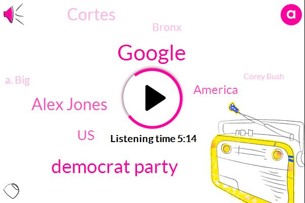 Google,Democrat Party,Alex Jones,United States,America,Cortes,Bronx,A. Big,Corey Bush,Youtube,Cortez,James Thompson,Kansas,Research Analyst,Zuckerberg,Brent Welder,Michigan
