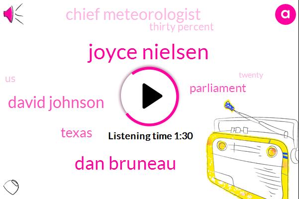 Joyce Nielsen,Dan Bruneau,David Johnson,Texas,Parliament,Chief Meteorologist,Thirty Percent