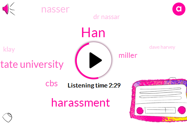 HAN,Harassment,Michigan State University,CBS,Miller,Nasser,Dr Nassar,Klay,Dave Harvey,Nasser M,Assault,Sports Medicine,Ms Hugh,Kathy Clay,Five Years