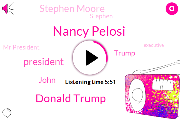 Nancy Pelosi,Donald Trump,President Trump,John,Stephen Moore,Stephen,Mr President,Executive,White House,Advisor,Joe Biden,Treasury Department,Illinois,Medicare,Republican Party,United States