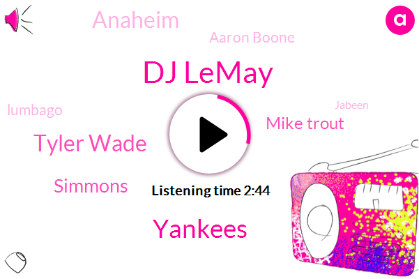 Dj Lemay,Yankees,Tyler Wade,Simmons,Mike Trout,Anaheim,Aaron Boone,Lumbago,Jabeen,Johns,Wayne,Eddy,Burley,Hugh,One Second,One Day