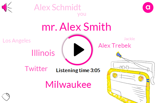 Mr. Alex Smith,Milwaukee,Illinois,Alex Trebek,Twitter,Alex Schmidt,Los Angeles,Jackie,North Carolina,Durham,Kurt Vonnegut,Van Nuys,Great Lakes,Chicagoland Chevy,Chicago,Cook County,Dupage,New York,Chicagoland,Glen Ellyn
