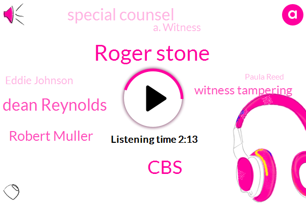 Roger Stone,CBS,Dean Reynolds,Robert Muller,Witness Tampering,Special Counsel,A. Witness,Eddie Johnson,Paula Reed,Superintendent,Oakland,Jesse Small,Mullahs,Chicago,William Bar,Coulter.,California,Congress,Official,Donald Trump