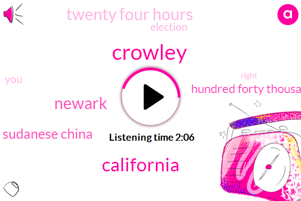 Crowley,California,Newark,Sudanese China,Hundred Forty Thousand Volts,Twenty Four Hours
