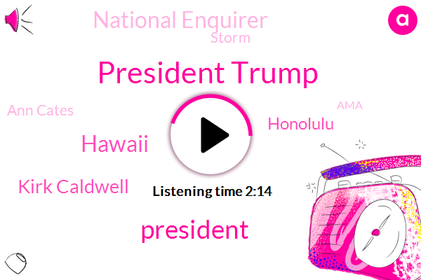 President Trump,Hawaii,Kirk Caldwell,Honolulu,National Enquirer,Storm,Ann Cates,AMA,Bork,Sarah Westwood,Amy Ninety,JAN,Johnson,Executive,Thirty Thousand Dollars,One Million Dollars,Thirty Minutes