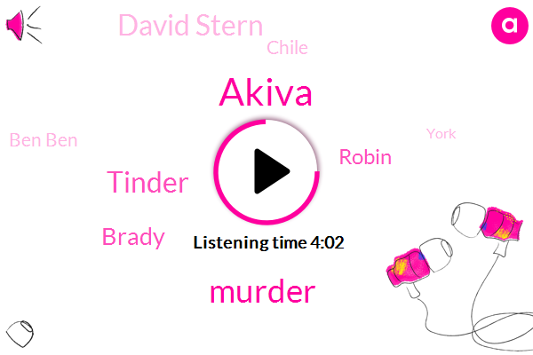 Akiva,Murder,Tinder,Brady,Robin,David Stern,Chile,Ben Ben,York,Antonio,New York,Rassie,Grassi,America,Chrissy,TIM,Salva,Thirty Nine Percent