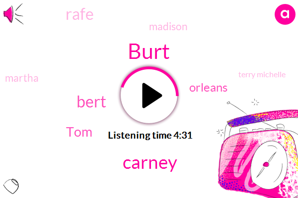 Burt,Carney,Bert,TOM,Orleans,Rafe,Madison,Martha,Terry Michelle,Europe,Paranoia,Mike