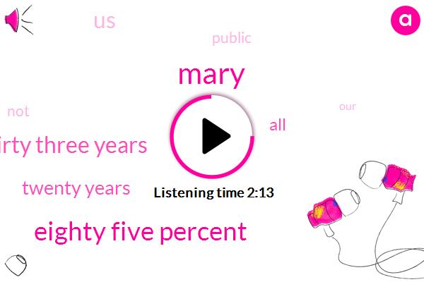 Mary,Eighty Five Percent,Thirty Three Years,Twenty Years