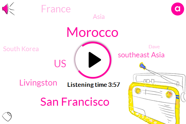 Morocco,San Francisco,United States,Livingston,Southeast Asia,France,Asia,South Korea,Dave,Africa,Denver,Europe,New York,Rocco,ANA,Watertown,Two Years