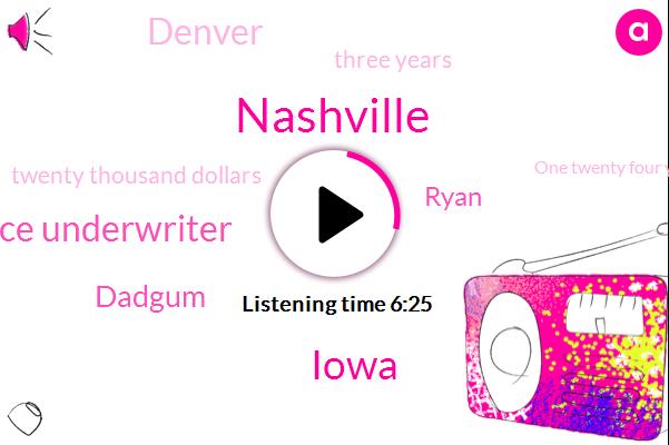 Nashville,Iowa,Insurance Underwriter,Dadgum,Ryan,Denver,Three Years,Twenty Thousand Dollars,One Twenty Four Years,Twenty Five Years,Five Years