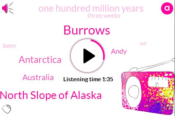 Burrows,North Slope Of Alaska,Antarctica,Australia,Andy,One Hundred Million Years,Three Weeks