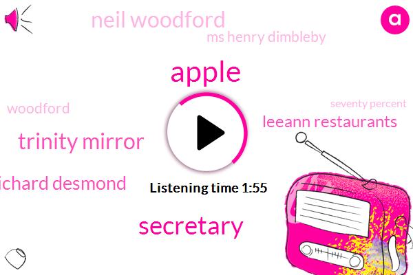 Apple,Secretary,Trinity Mirror,Richard Desmond,Leeann Restaurants,Neil Woodford,Ms Henry Dimbleby,Woodford,Seventy Percent,Thirty Percent,Twelve Percent
