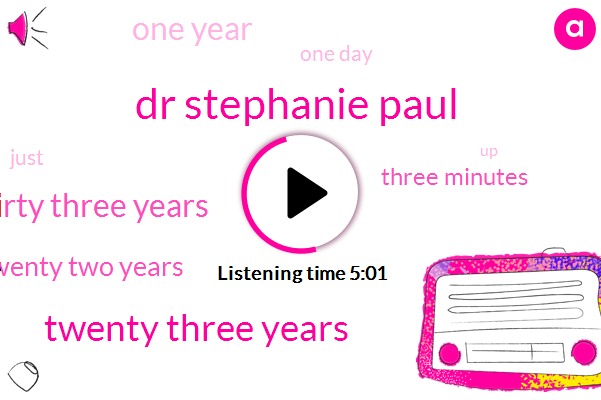Dr Stephanie Paul,Twenty Three Years,Thirty Three Years,Twenty Two Years,Three Minutes,One Year,One Day