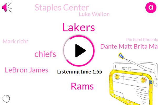 Lakers,Rams,Chiefs,Lebron James,Dante Matt Brita Markey,Staples Center,Kcbs,Luke Walton,Mark Richt,Portland Phoenix,Wisconsin,Sacramento,California,Canes,Goodwin,Miami