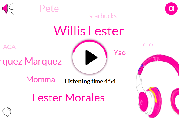 Willis Lester,Lester Morales,Marquez Marquez,Human Resources Marketing,Multiple Myeloma,Starbucks,North America,Vice President Of Sales,CEO,Executive Vice President,ACA,Leicester,Momma,YAO,Pete,San France,Baseball