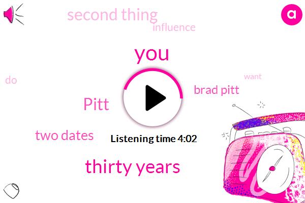 Thirty Years,Pitt,Two Dates,Brad Pitt,Second Thing