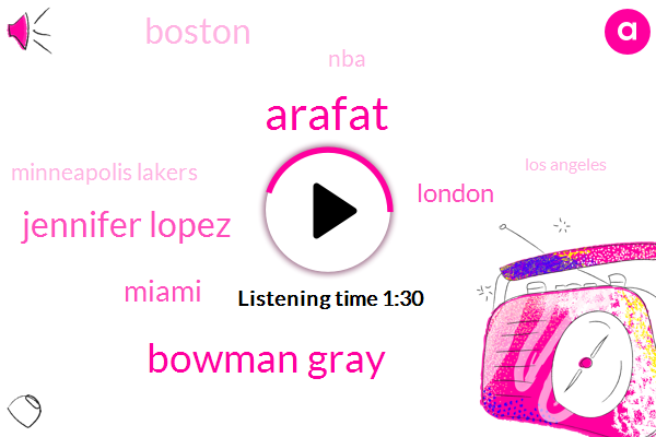 Arafat,Bowman Gray,Jennifer Lopez,Miami,London,Boston,NBA,Minneapolis Lakers,Los Angeles,Alex Rodriguez,White Sox,John,George Mike,Fortysecond,Five Days,One Bit