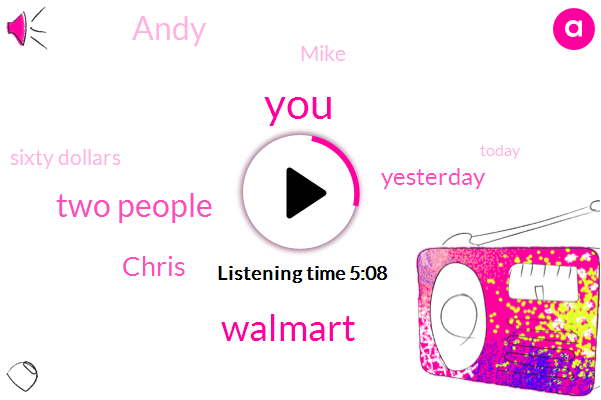Walmart,Two People,Chris,Yesterday,Andy,Mike,Sixty Dollars,Today,Twenty Bucks,Saturday Afternoon,Groupon,Sixty Five Cents,Twenty Five Dollars,Three Hundred Pounds,Twenty Five Bucks,Monday,Sixty Six Percent,First Year,Twenty-Five