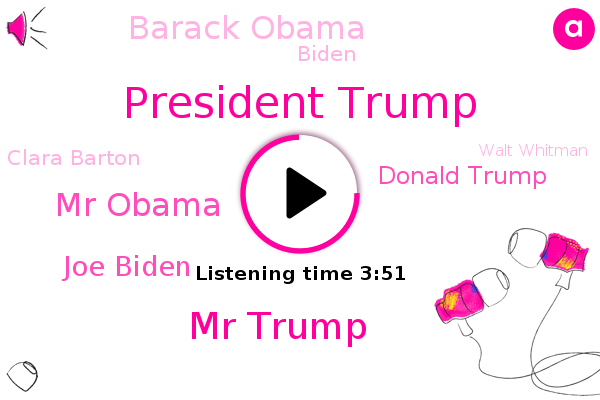 President Trump,Mr Trump,Mr Obama,Joe Biden,Donald Trump,Barack Obama,Biden,America,White House,Russia,China,National Portrait Gallery,Clara Barton,Walt Whitman,Smithsonian